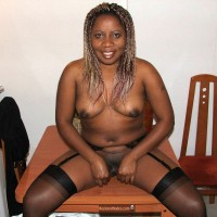 Nude Ethiopian Woman Pulling Labia