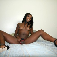 Topless Smiling American Ebony Babe Flashing Pussy