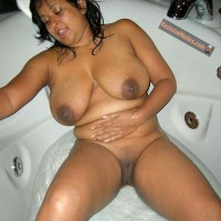 Chubby Busty Mexican Wife Nude in Bathtub