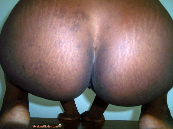 Big Black Round Buttocks Squatting from Ghana