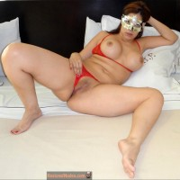 Masked Brazilian Woman Flashing Pussy