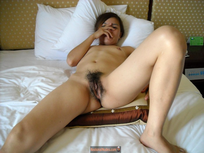 Nude Vietnamese Girl with Hairy Cunt