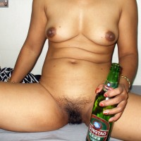 Ordinary Hairy Malaysian Woman Drinking