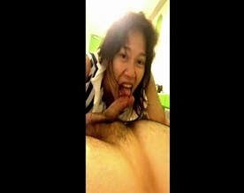 Indonesian Hungry Slut Sucks and Swallows