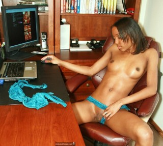 Young Black American Girl Naked in Texas Office