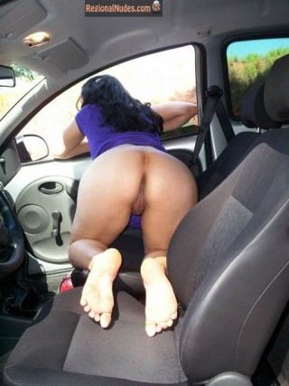 Brazilian Slut Naked Ass in Car