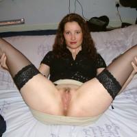 British Brunette Spreading Stockings Legs Exposing Vagina
