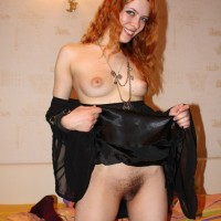 Beautiful Ukrainian Redhead Stripping Pussy and Boobs