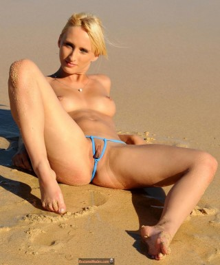 Hungarian Blonde Girl Posing Naked on Beach