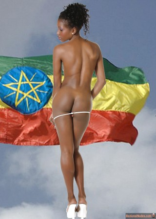 Naked Ethiopian Model Girl Posing from Behind with Flag
