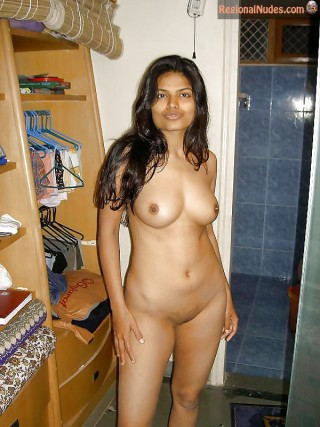 Posing Nude Indian Young Wife at Home