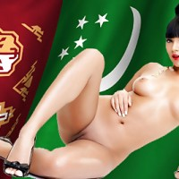 Naked Turkmen Girl posing with Turkmenistan Flag