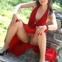 Ukrainian Girl no Panties Under Dress Outdoors