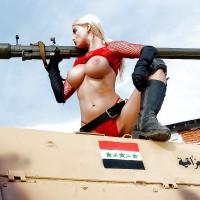 Hot Iraqi Babe Topless War Gun