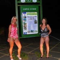 British Ladies Showing Pussies in Public at Night