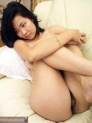 Pretty Malaysian Naked Babe Holding Knees