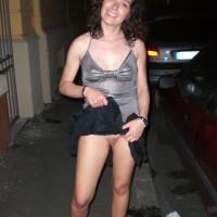 Italian Wife Flashing Pussy on Streets