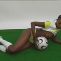 Sexy  football babe from Ghana stripping and touching