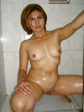 Wet Guatemalan Female Nude in Shower