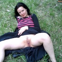 Bulgarian Woman Revealing Cunt on Grass