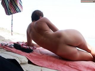 Nudist Greek Woman on Beach from Behind