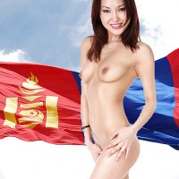 Mongolian Nude Beautiful Girl Flag Posing