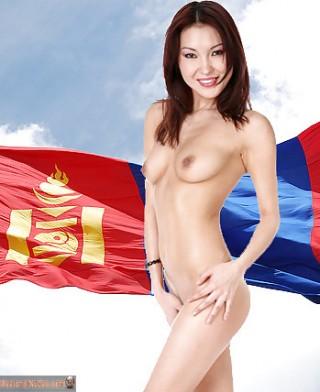 Mongolian Nude Beautiful Girl Flag Posing