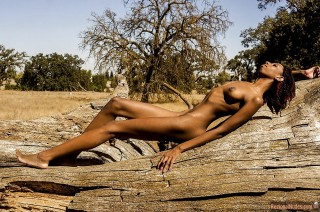 Thin Nude Eritrean Girl in Savanna