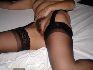 Hairy Portuguese Pussy with Stockings