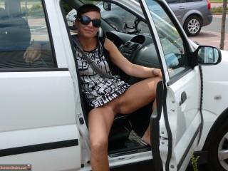 Hungarian Woman Exposing Pussy in Car Open Door