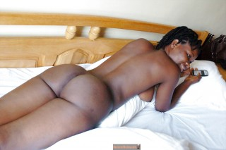 Slim Hot Naked Ghanaian Black African Chick from Behind