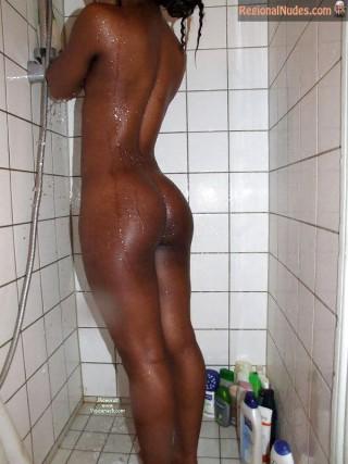 Beautiful Wet Kenyan Girl Body from Behind Showering