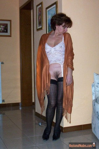Spanish Wife Sexy at home with Hairy Pussy Out