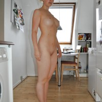 White Naked Danish Girl in Denmark Kitchen