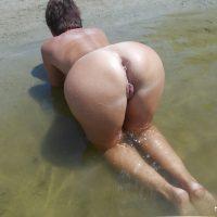 Armenian Milf Nudist on all fours  in Sea Water