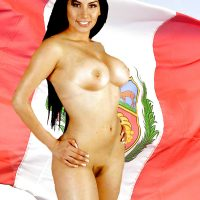 Patriot Nude Peruvian Woman from Lima with Flag