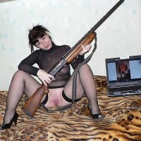 Sexy Lingerie Georgian Woman Pussy with Shotgun