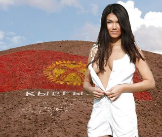 Beautiful Asian Model from Kyrgystan Undressing Breasts