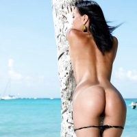 Gorgeous Mongolian Naked Girl from Behind on Beach