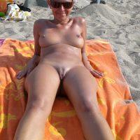 Italian Nudist Woman on Beach