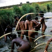 Many Swazi Nudists Bathing Naked in the River