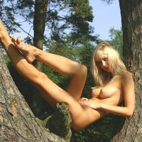 Naked Czech Blonde Beauty in a Tree