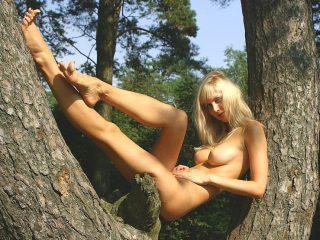 Naked Czech Blonde Beauty in a Tree