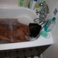 Wet Naked Cabo Verdean Girl Bathing