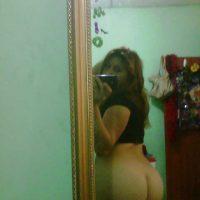 Female Posing Ecuadorian Bare Ass in the Mirror
