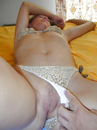 Him Sliding Her Panties Revealing Slovak Pussy