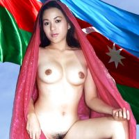 Nude Azerbaijan Girl with Flag
