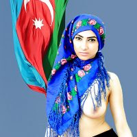 Topless Azerbaijan Woman Covered Head with Flag