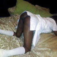 Ugandan Ebony African Girl on all fours Ass Exposing