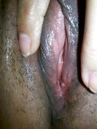 Up-Close Wet Namibian Vagina Spreading